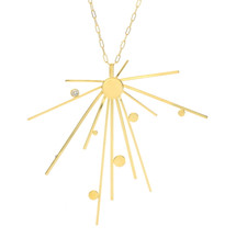 Lauren Chisholm 14k gold Starburst Necklace, 18k gold detail, blue topaz, designer jewelry