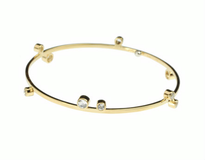 Designer jewelry Gemstone Bangle Bracelet, solid 14k yellow gold, 18k gold signature detail