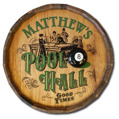 Pool Hall Custom Quarter Barrel Sign