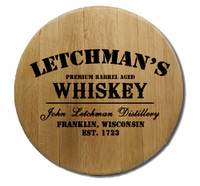 Distillery Barrel Head Sign Personalized