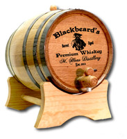 Pirate Label Oak Barrel Personalized