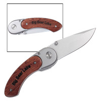 Engraved Pocket Knife with Curved Handle