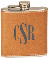 Custom Engraved Stainless Steel Leather Flask