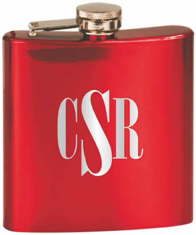 Custom Engraved Stainless Steel Flask in Gloss Red