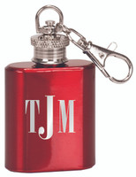 Engraved Keychain Flask in Gloss Red