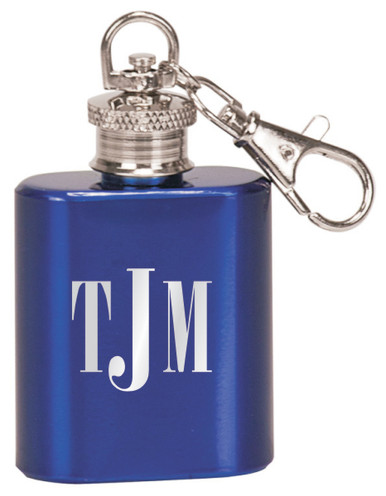 Engraved Keychain Flask in Gloss Blue