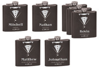 Personalized Tuxedo Flask Wedding Gift Set of 7