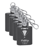 Personalized Tuxedo Mini Flask Groomsman Gift Set of 4