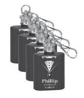 Personalized Tuxedo Mini Flask Groomsman Gift Set of 4