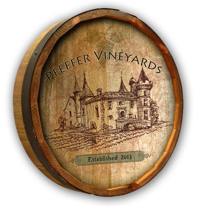 Custom Vineyard Quarter Barrel Sign