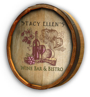 Wine Bistro Color Quarter Barrel Sign