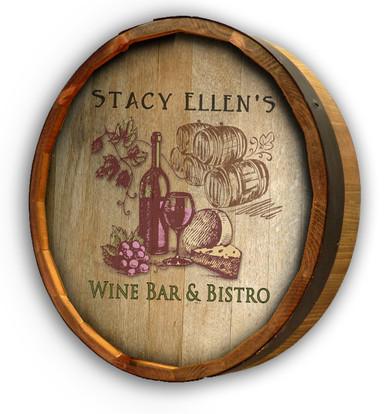 Wine Bistro Color Quarter Barrel Sign