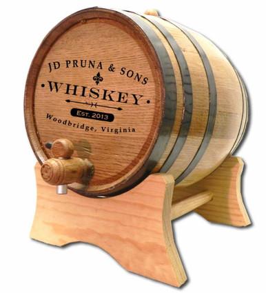 Custom Distillery Label Oak Barrel