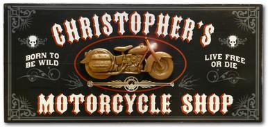 Vintage Motorcycle Shop Plaque