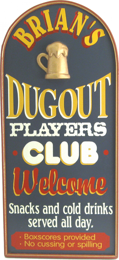 Dugout Player's Club Sign Personalized