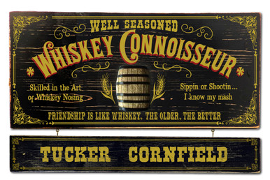 Whiskey Connoisseur Plaque with Optional Hanging Name Plank