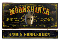 Vintage Moonshine Plaque with Optional Hanging Name Plank