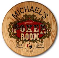 Poker Room Barrel Head Sign