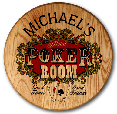 Poker Room Barrel Head Sign