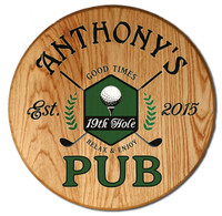 19th Hole Golf Pub Barrel Head Sign Personalized