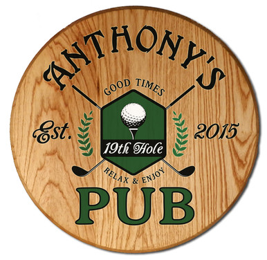 19th Hole Golf Pub Barrel Head Sign Personalized