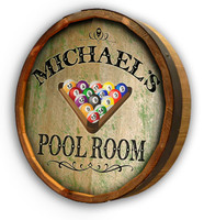 Pool Room Quarter Barrel Head Sign