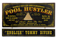 Vintage Pool Hustler Plaque Personalized