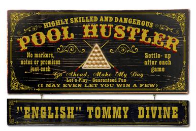 Vintage Pool Hustler Plaque Personalized