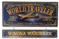 Vintage World Traveler Plaque