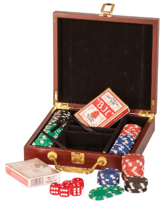 100 Chip Poker Set with Wooden Gift Box