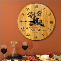 barrel head wine bar clock custom - Home Bar Decor