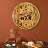 home bar clock with personalized whiskey label - Home Bar Decor