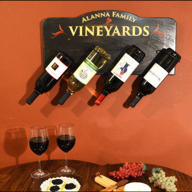 Personalized Plaque - Holds Four Wine Bottles