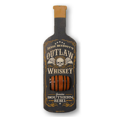 "Bottle Shaped ""Outlaw Whiskey"" Home Bar Sign"