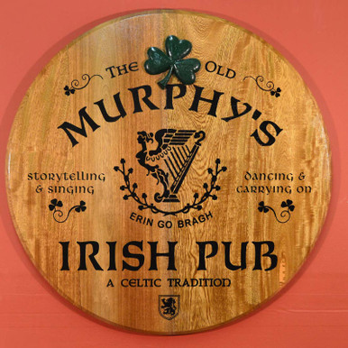 Irish Pub Barrel Head Sign
