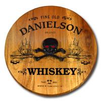 Pirate Ship & Skull Home Bar Barrel Head Sign