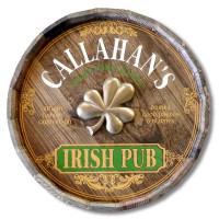 Irish Pub with Shamrock Quarter Barrel Sign