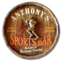 Sports Bar Football Quarter Barrel Sign
