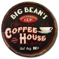 Vintage Coffee House Quarter Barrel Sign