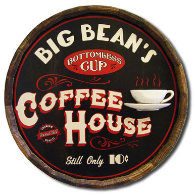 Vintage Coffee House Quarter Barrel Sign