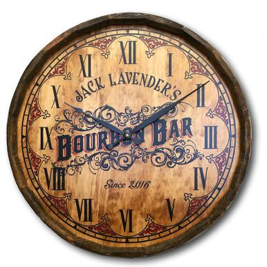Bourbon Bar Quarter Barrel Clock Personalized