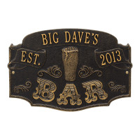 Classic Metal Home Bar Plaque - Black / Gold Finish