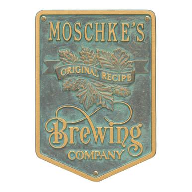 Brewing Company Home Bar Plaque - Verdigris Finish