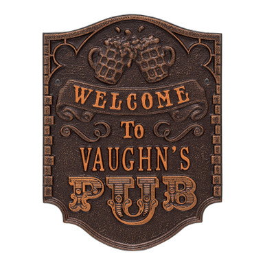Personalized Pub Welcome Plaque - Antique Copper Finish