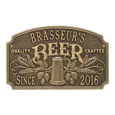 Quality Crafted Beer Plaque - Antique Bronze Finish