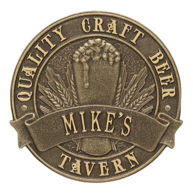 Quality Craft Beer Tavern Round Plaque - Antique Brass