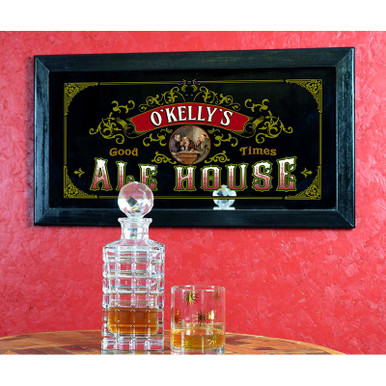 """Vintage-style """"Ale House"""" personalized home bar mirror"""