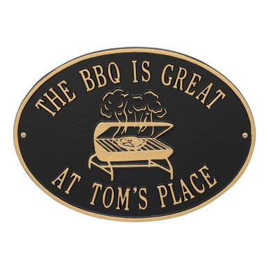 BBQ Grill Personalized Plaque - Black / Gold Finish
