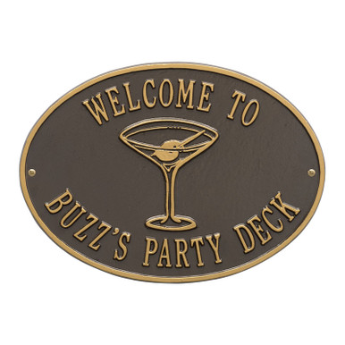Personalized Cocktail Plaque - Bronze / Gold Finish