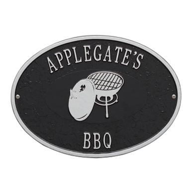 Charcoal BBQ Grill personalized Plaque - Black / Silver Finish